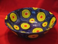 Hand painted abstract Flower Bowl by 20thcenturydesignsny on Etsy