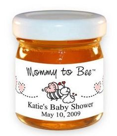 Mommy-To-Bee Bees with Pink Hearts Honey Jar . $2.59. Product Description: 1.5 ounce Baby Shower Honey Jars, personalized for your Baby Shower. The labels on this jar are in the Mommy-To-Bee Beesdesign pattern. Nothing is sweeter then honey, a traditional and cherished symbol of love. Leave your guests with only the sweetest thoughts; these personalized honey baby shower favors are a truly impressive favor, a classic reminder of all the sweet things a baby brings! Jars measure ...