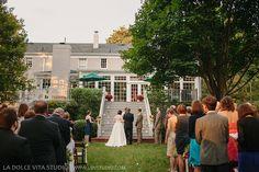 Photographer: La Dolce Vita Studio -  Wedding Planner & Designer: Stunning Events –  Florist: Amanda Jerkins –  Backyard wedding in Nashville, TN, Fall wedding, bright colors with pops of navy
