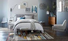 "West Elm - ""Cool Gray Bedroom""  Like the headboard, dislike the side table"