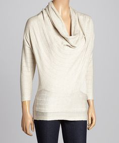 Another great find on #zulily! Natural Three-Quarter Cowl Neck Top by JANA #zulilyfinds