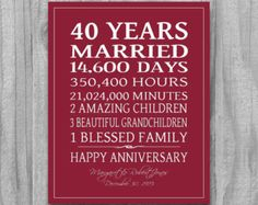 RUBY 4Oth Anniversary Gift Personalized CUSTOM Love Story Stats Marriage Subway Sign Print UNIQUE  Your Colors