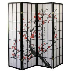 Q-Max 4-panel Blossom Decoration Japanese Oriental Style Room Screen Divider