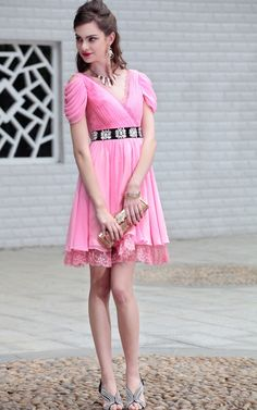 chiffon with beaded waist and unique sleeves. Model is so longer on most girls. Modest Homecoming Dresses, Designer Evening Dresses, Dresses 2013, Dress Silhouette, Summer Collection, Ruffles, Sexy, Rose, Chiffon