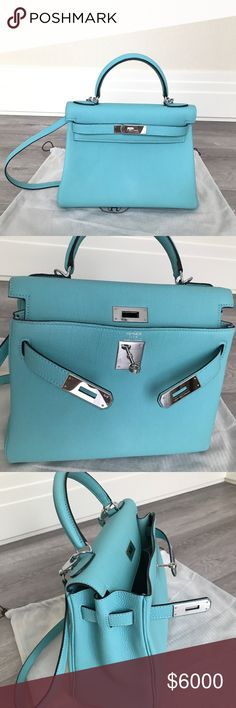 Hermes kelly bag blue atoll with silver hardware Like New. LOCAL PICKUP at New York, recently I am moving downtown to work at wall street, just leave me a message if you are interested Hermes Bags Crossbody Bags