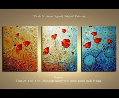 Original  abstract contemporary Poppies multi  panel by Nizamas, $320.00