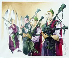 galician gaiteros | Artwork of the Galician and Asturian bagpipes