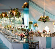 highlight your color with runners; victorian style table tops, beautiful chandeliers and floral