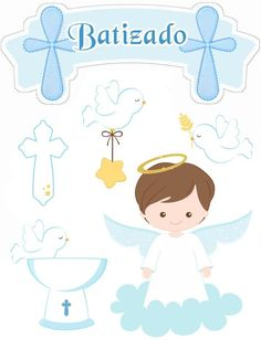 Niño con Palomas: Toppers para Pasteles o Tartas de Primera Comunión para Imprimir Gratis. Christening Balloons, Baby Boy Christening, Baby Girl Baptism, Baptism Party, Baptism Invitation For Boys, Baptism Invitations, Shower Invitations, Boy Printable, Free Printables