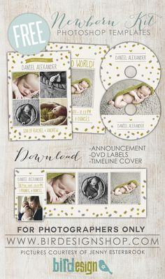 Free Newborn Kit templates - July Freebie - Birdesign