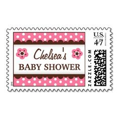 "Cute, personalized baby shower postage stamp featuring a pink and white polka dot pattern and a horizontal brown band with scalloped edge and little flowers. Customizable text ""[Name's] baby shower. Chic and trendy baby shower postage stamp for mothers expecting little girls."
