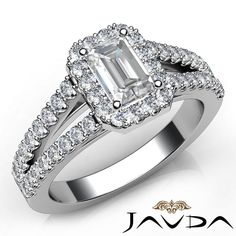 Emerald Diamond Engagement Ring Certified by GIA, J Color & VS2 clarity, 14k White Gold (1.82 ct. Total weight.)