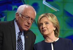 """Hillary Clinton e Bernie Sanders 'alleati' contro Donald Trump, che """"preoccupa"""" i leader stranieri. I due candidati democratici alla Casa Bianca fanno fronte comune nell'attaccare il tycoon, ma si spaccano sulla pena di morte. (ANSA)"""