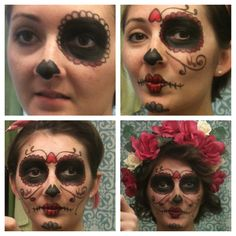 Dia de los Muertos  Slow process to paint my own face but I think it turned out great! I used white & black Halloween paint and for the other colors I purchased lipstick from the dollar tree! Once complete, I topped with a homemade head piece. I purchased a bouquet of fake flowers at the thrift store and attached them to a headband I had at home. The dress I chose to wear was a floral print and matched the headpiece perfectly! Fun & inexpensive costume! #halloween #costume #diadelosmuertos