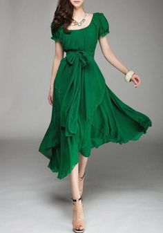 Refreshing Style Scoop Neck Solid Color Lace-Up Short Sleeve Chiffon Dress For Women