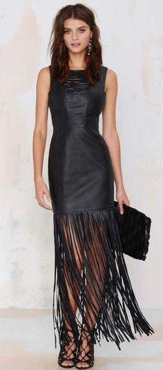 Dominate Fringe Leather Dress