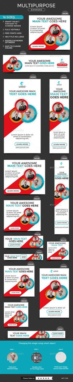 Multipurpose Banners Template #design Download: http://graphicriver.net/item/multipurpose-banners/12062291?ref=ksioks