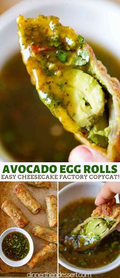 Cheesecake Factory Avocado Egg Rolls (Copycat) - Dinner, then Dessert Cheesecake Factory Avocado Egg Rolls are the perfect fresh avocado and sun dried tomato filled egg rolls with a bright cashew tamarind cilantro dipping sauce you love in the restaurant! Avocado Egg Rolls, Avocado Roll, Fresh Avocado, Avocado Toast, Baked Avocado, Egg Roll Recipes, Avocado Recipes, Vegetarian Recipes, Cooking Recipes