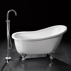 "55"" Ultra Victorian Acrylic Slipper Clawfoot Tub with Imperial Feet"