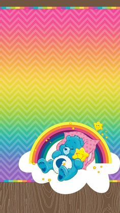 Care Bears, Bear Wallpaper, Wallpaper Backgrounds, Iphone Wallpapers, Colorful Wallpaper, Care Bear Tattoos, Ricky And Morty, Care Bear Party, Baby Posters