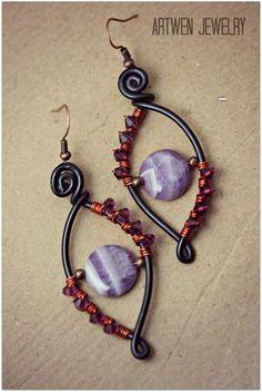 Pendientes Wirewrap #wirejewelry