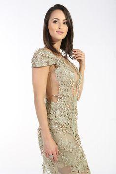 Aluguel Patricia Bonaldi - Dourado em Renda - Aluguel de Vestidos