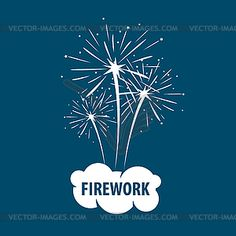 Logo white cloud and firework - vector image