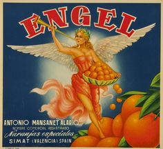 Engel : Antonio Mansanet Alario ... : naranjas especiales Simat (Valencia). Entre 1950 y 1975 Pear Fruit, Fruit Box, Orange Crate Labels, Vegetable Crates, Vintage Advertisements, Ads, Advertising, Vintage Labels, Cat Art