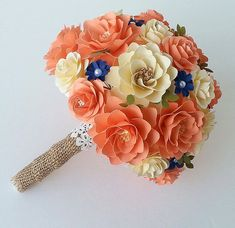 Paper Bouquet - Paper Flower Bouquet - Wedding Bouquet - Coral and Ivory - Custom Made - Any Color