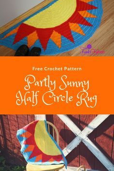 Free Crochet Pattern - Partly Sunny Half Circle Rug, creates this half circle shape with double crochet stitches and color changes.