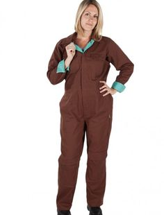 Chocolate Brown Coveralls | Rosies Workwear for Women. Large Animal Tech Lab wear