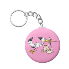 Stork with baby key chain. #Zazzle #Cardvibes #Tekenaartje #SOLD #baby #pregnant #birth