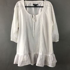CALVIN KLEIN JEANS Boho Peasant Blouse Size 2X, White 100% Cotton, Womans #CalvinKleinJeans #Peasant #Casual