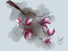 Mario Ameni, painter, Amenicanvas , aquarela Japanese Flowers