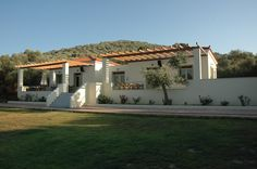 View of the building(Gera's Olive Grove ESTATE) Olive Tree, Lodges, Acre, Natural Beauty, Greece, Pergola, Relax, Outdoor Structures, Island