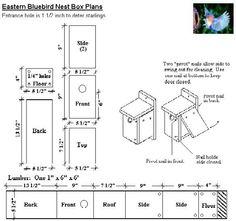 Free Blue Bird House Plans - Bluebird Nesting Box, Bluebird House