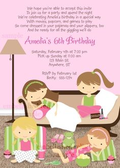 0f5fa8825e1f4b0d0d78c1c2b58a1f75 slumber party birthday slumber party invitations girls sleepover pajama party invitation my child fun things to,Birthday Party Text Invitation