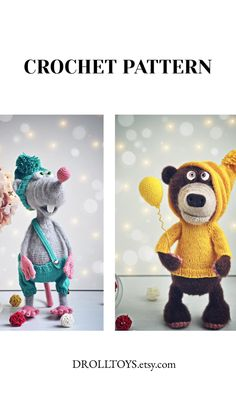 Crochet Bear Patterns, Crochet Animals, Knitting Patterns, Handmade Ideas, Handmade Toys, Handmade Crafts, Crochet Mouse, Knit Crochet, Whale Plush
