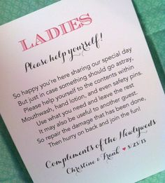 Restroom sign - wedding sign, bathroom sign, ladies sign, gentlemen sign, party sign, via Etsy