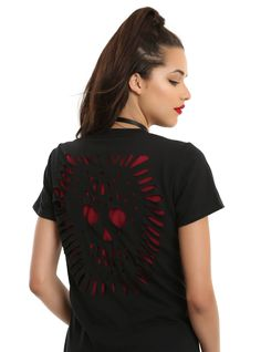 """<div>You won't need to cut up your T-shirt for that distressed look, because we did it for you! Teardrop-shaped cutouts along the neckline create a unique look, and the back has a spooky sugar skull cutout design to make this black T-shirt anything but basic.</div><div><br></div><ul><li style=""""list-style-position: inside !important; list-style-type: disc !important"""">100% cotton</li><li style=""""list-s..."""