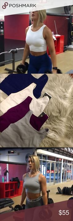 VS bundle 4 sports bras cute sports bras just like the ones that whitney simmons rock! never worn, all still have tags except the dark magenta color.  originally does not come w padding but has inserts  lululemon gymshark victorias secret sports bra Victoria's Secret Tops