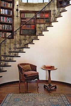 Make a staircase along the wall just to reach high shelves and for accent. Bonus points if you have a round room/turret