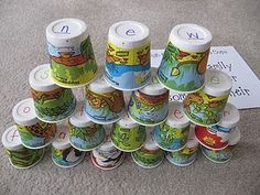 stacking cups sight word game - spell words from list - store in Pringles can