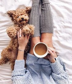 Lets sleeeeep in! Coffee and poodle, yes please. Definitely my Sunday vibes...