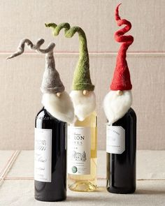Santa Wine Toppers                                                                                                               in Wrap It Up 2012 from Garnet Hill