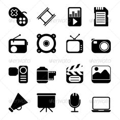 Multimedia Icons  #GraphicRiver         Multimedia Icons. Item contains EPS8, Ai, JPG and layered PSD formats. You can easy to change size and color of icons.     Created: 16September13 GraphicsFilesIncluded: PhotoshopPSD #JPGImage #VectorEPS #AIIllustrator HighResolution: Yes Layered: Yes MinimumAdobeCSVersion: CS Tags: bars #bullhorn #button #camera #card #cinema #communication #computer #digital #display #dynamic #entertainment #event #film #game #icon #industry #internet #joystick…