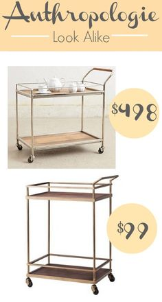 Alternative Uses For A Bar Cart + Anthropologie Wooden Cart Look Alike