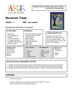 the format.change to fit my teaching style. Mondrian c Piet Mondrian, Classroom Art Projects, Art Classroom, High School Art, Middle School Art, Teaching Style, Teaching Art, Art Worksheets, Art Curriculum