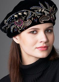 Women's hat with lovely embroidery. #millinery #judithm #hats