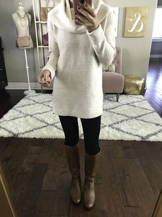 Simple weekend outfit - cowl neck tunic sweater, black leggings, cognac boots